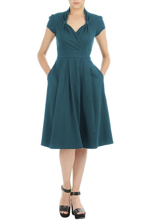 1940s Style Dresses and Clothing eShakti Womens Vintage style cotton jersey knit dress $60.95 AT vintagedancer.com
