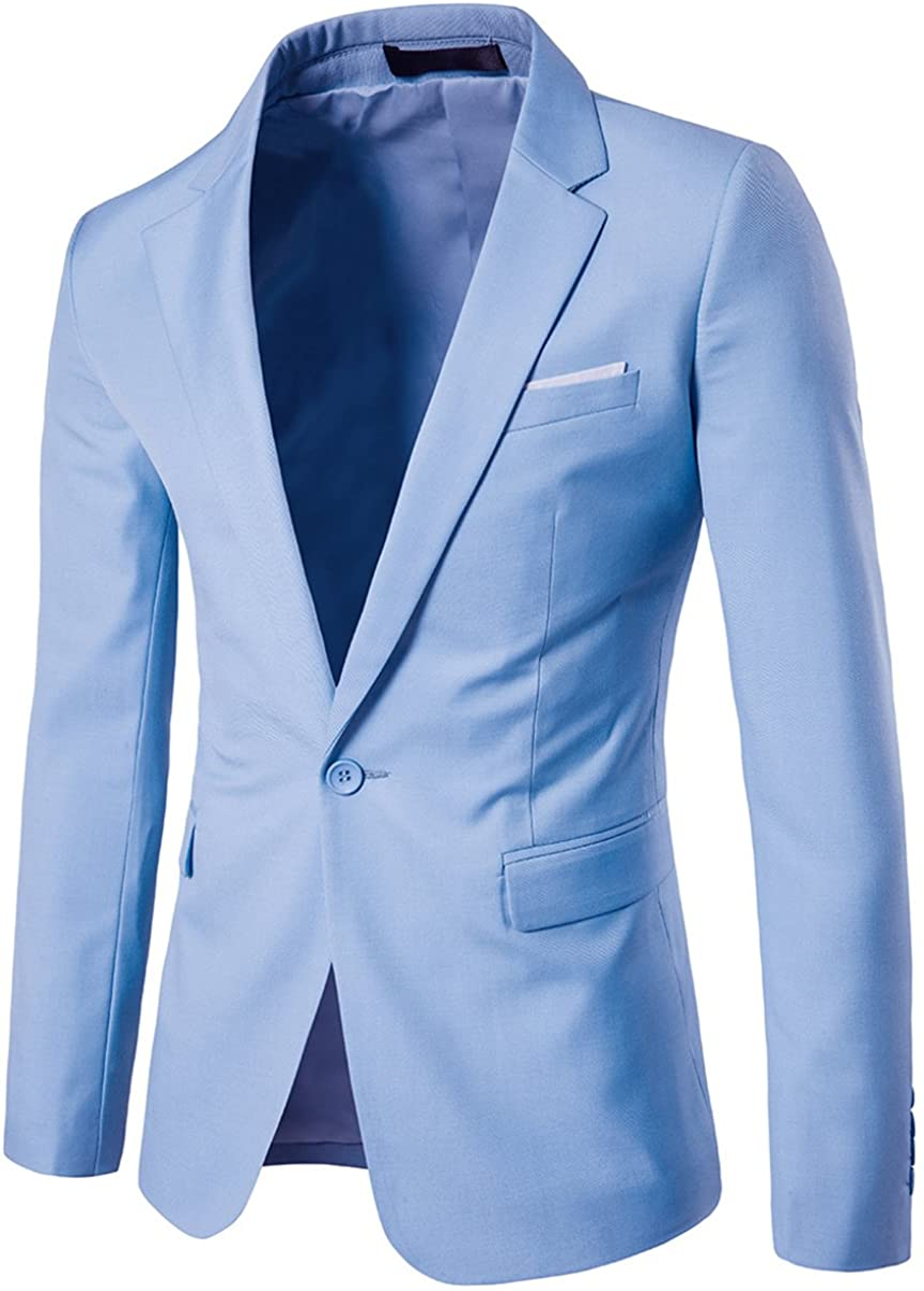 Men's Suit Jacket One Button Slim Fit Sport Coat Business Daily Blazer at  Men's Clothing store