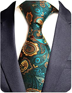 19f44d2913ce GUSLESON Brand New Striped Paisley Ties Mens Plaid Necktie for Wedding