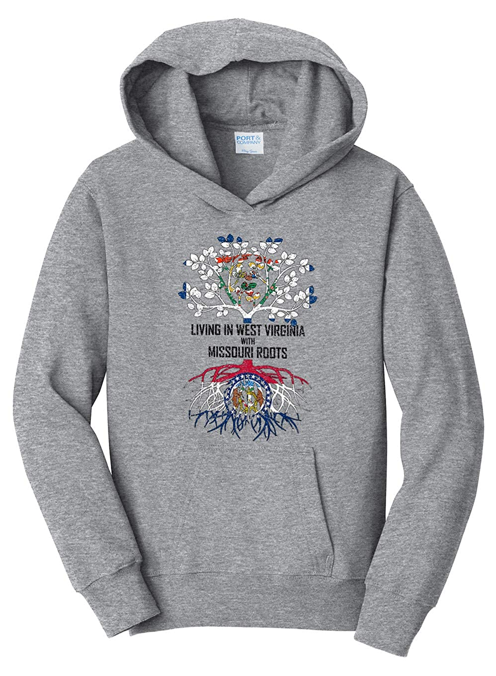 Tenacitee Girls Living in West Virginia with Missouri Roots Hooded Sweatshirt