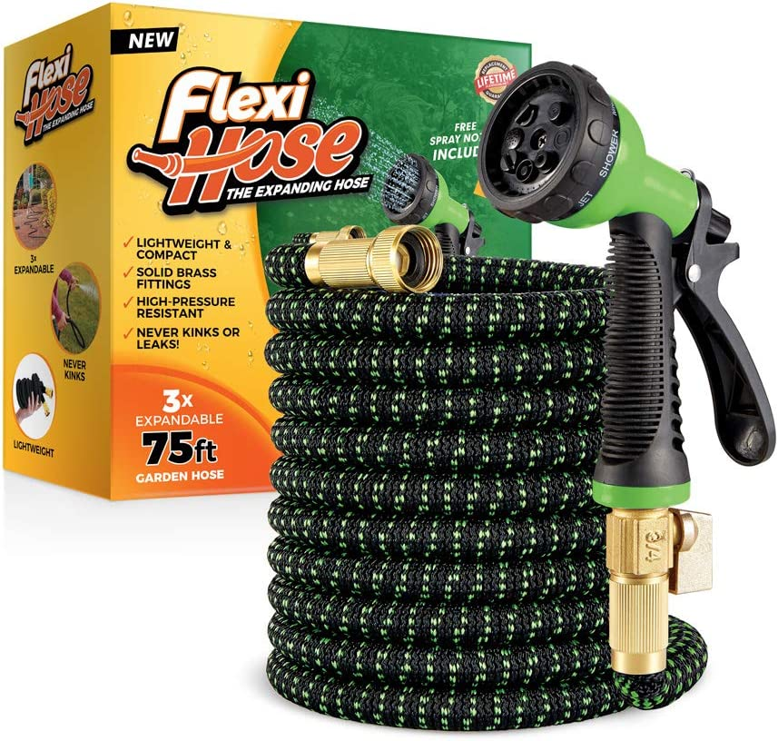 Flexi Hose with 8 Function Nozzle, 75 ft. Lightweight Expandable Garden Hose, No-Kink Flexibility, 3/4 Inch Solid Brass Fittings and Double Latex Core, Green/Black