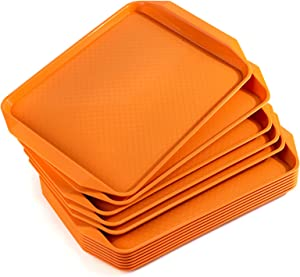 Aebeky Plastic Fast Food Tray,16.7 by 11.8-Inch,Set of 12 (Orange)