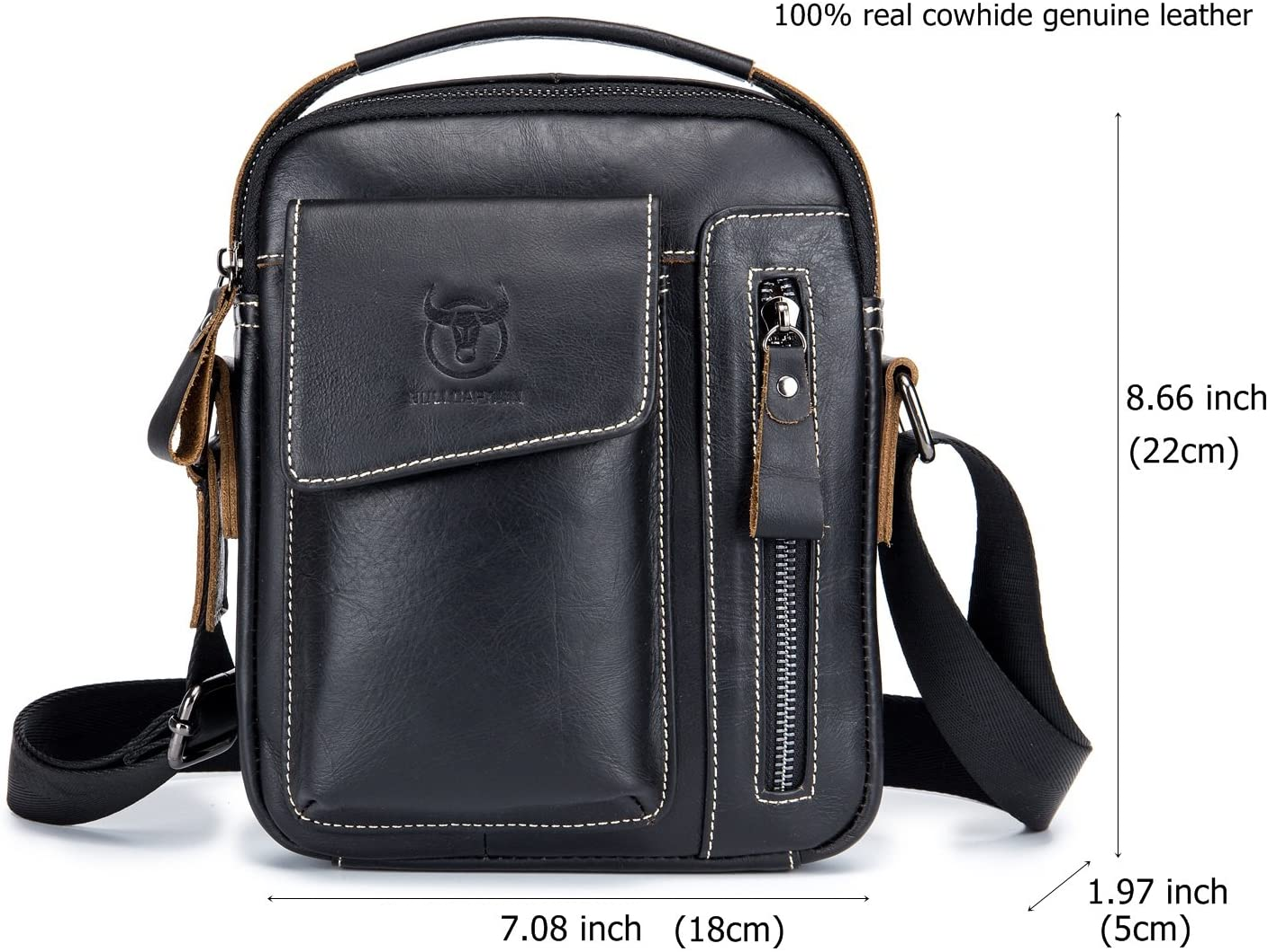 "Men Genuine Leather Cowhide Small 8/"" Phone Case Crossbody Shoulder Messenger Bag"
