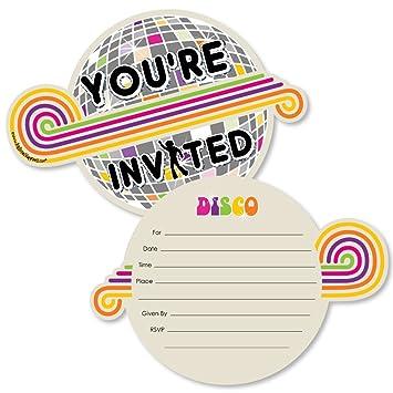 amazon com 70 s disco shaped fill in invitations 1970s disco