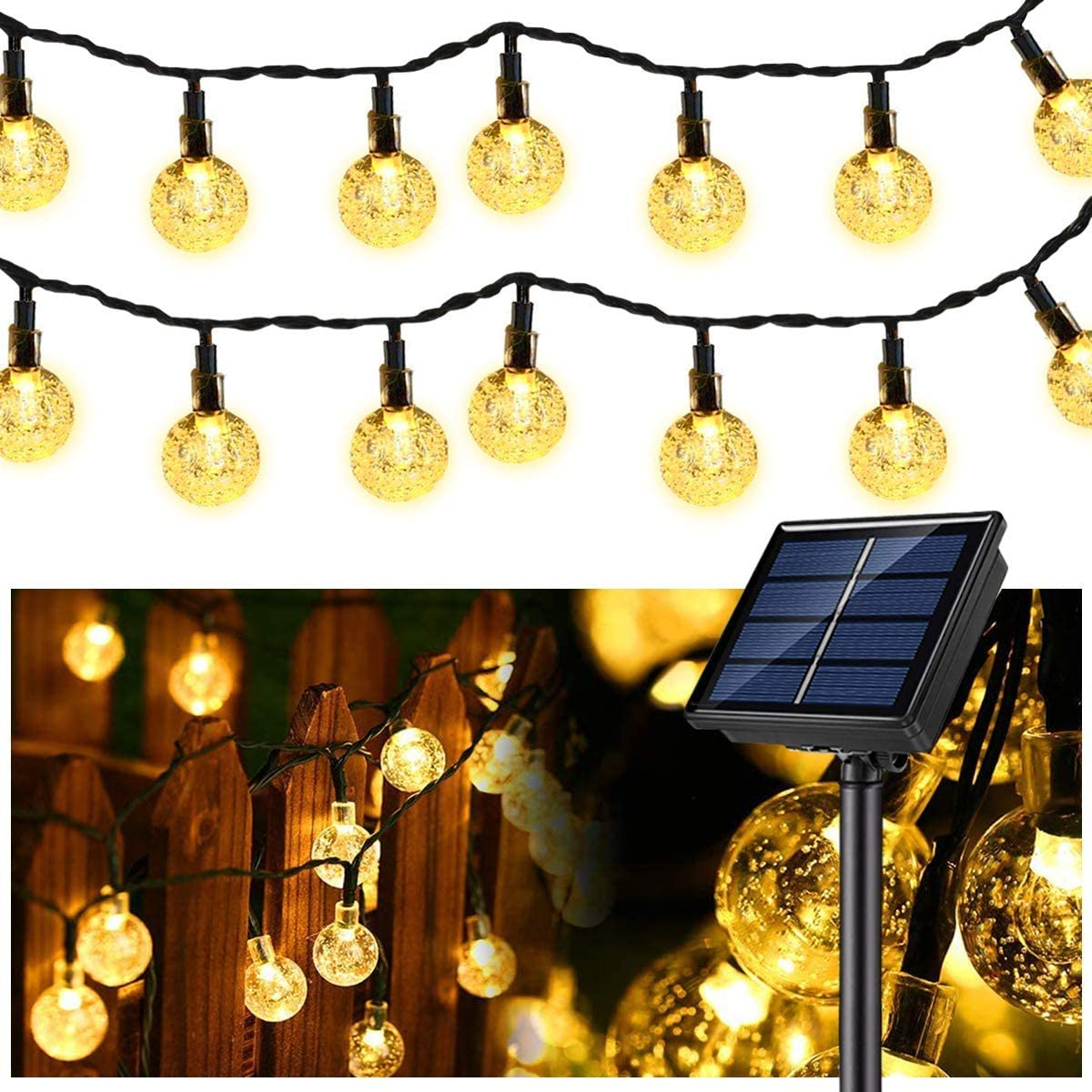 Globe String Lights, 37 FT 60 Solar Globe String Lights,(Upgraded Battery)Waterproof 8 Modes Powered String Lights for Patio,Umbrella,Pergola,Garden,Gazebo,Outdoors(Warm White)