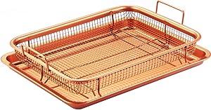 iMounTEK Crisper Tray Set Non Stick Cookie Sheet Tray Air Fry Pan Grill Basket Oven Dishwasher Safe Oil Free