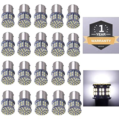 CARGO LED 20 Pcs Extremely Super Bright 1156 1141 1003 1073 BA15S 7506 50 SMD 3014 LED Replacement Light Bulbs for RV Indoor Lights 6000K Xenon White(12V DC): Automotive