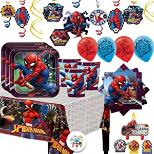 Spiderman MEGA Birthday Party Supplies Pack For 16 Guests With Decorations With Plates, Cups, Napkins, Tablecover, Candle, Swirl Decorations, 6 Balloons, and Exclusive Pin