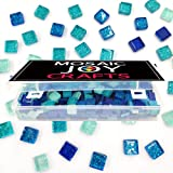 MosaicTiles for Crafts Blue Assorted Color 320 Pieces Glass Glitter Mosaic Supplies Pieces Bulk Square Shape 0.4X0.4…