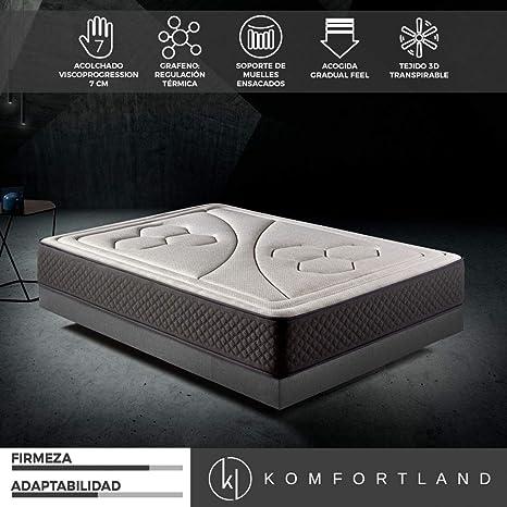 Komfortland Colchón 150x190 muelles ensacados Memory Vex Spring de Altura 26cm, 7 cm de ViscoVex