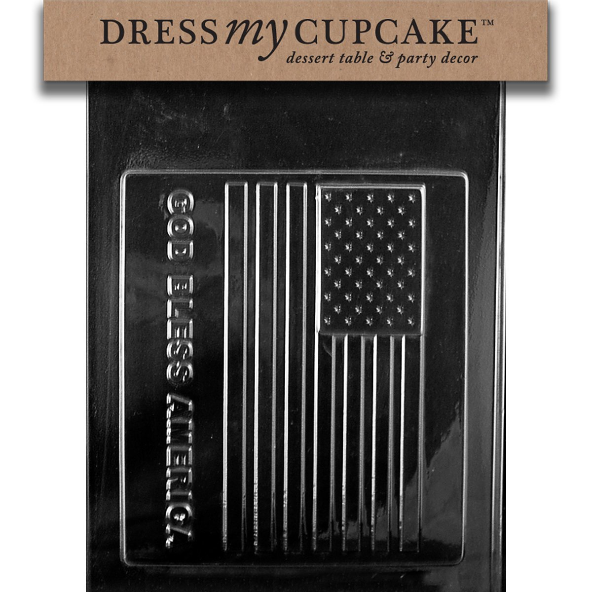 Dress My Cupcake DMCP024SET Chocolate Candy Mold, God Bless America Large Flag, Set of 6