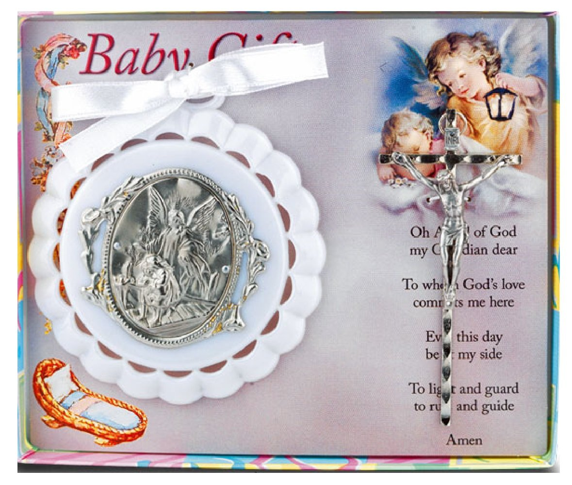 3.5 White Crib Medal with Crucifix Guardian Angel Baby Gift WJ Hirten 2708-02