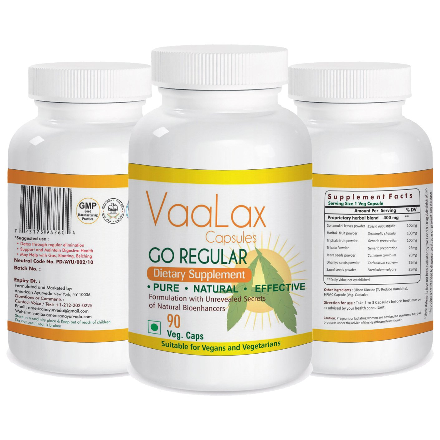 VaaLax Capsules Laxative Herbal Supplement for Regularity, Natural Colon Cleanse & Detox, Supports Weight Loss & Digestive Health. Gentle but Highly Effective Formula by American Ayurveda