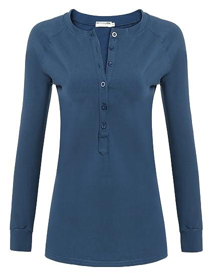 70c756ed068 HOTOUCH Femme T-Shirts à Manches Longues Col Tunisien Coton Tops Casual  Bleu M