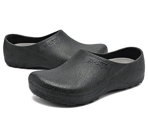 adituo Slip Resistant Clog for Men Women Non Slip Chef Work Shoes Black for  Restaurant 38 8b65f585c