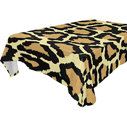 12c8a831bf Amazon.com   Leopard Skin Fur Print Dinner Tablecloth Polyester ...