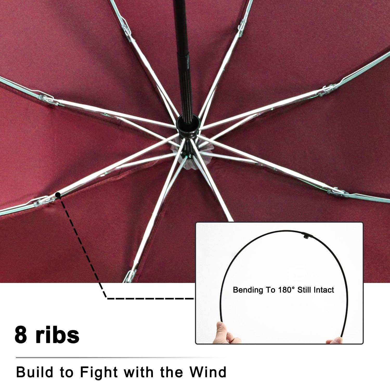 Sun /& Rain Brainstorming Windproof Travel Umbrella Compact Folding Reverse Umbrella for Outdoor/&Travel Inverted Automatic Open Close Umbrella with 8 Fiberglass Ribs,Teflon Coating