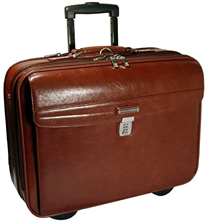 bb965f86e475 Amazon.com: Genuine Leather Rolling Briefcase Leather Wheeled Carry ...