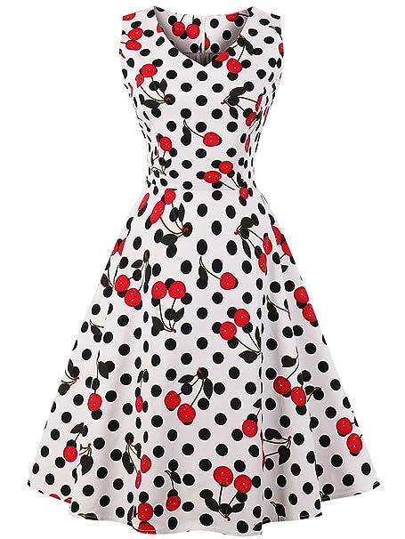 FAIRY COUPLE 1950S Vintage Rockabilly Lunares Vestido de Baile DRT072(S,Blanco Cereza Puntos