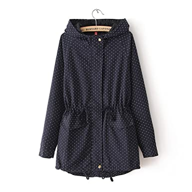LeNG Autumn Winter Women Cute Polka Dots Hooded Trench Abrigos Chaquetas Plus Size XXXL Coat NavyMedium