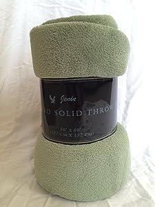 "Awad Home Fashion Solid Warm & Cozy Soft Fleece Throw Plush 50""x60"" Blanket, Sage"