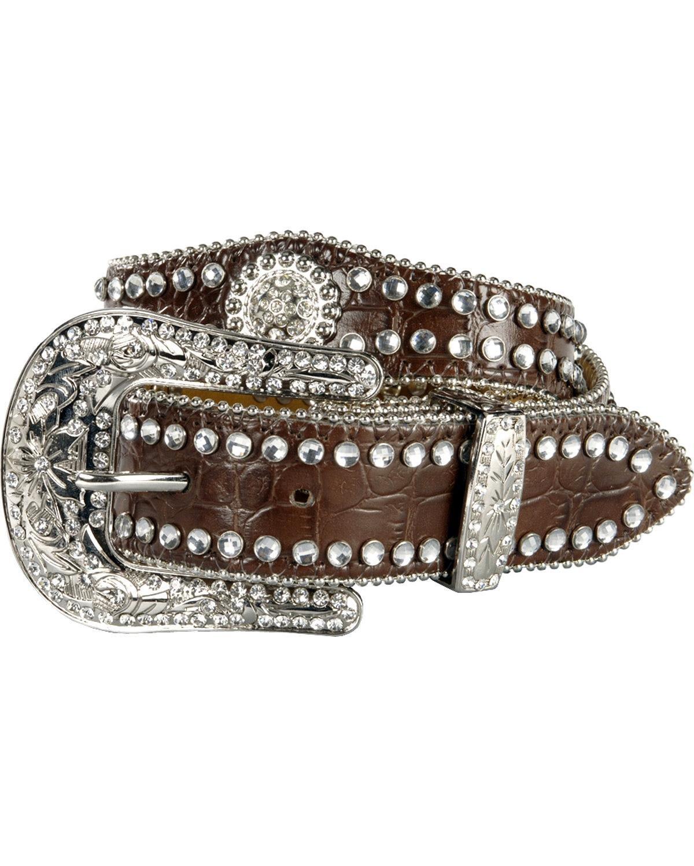 Nocona Girl's Faux Croc Print Ball Chain Edge Belt 282967