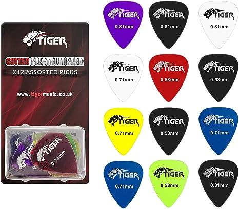 Tiger GAC65-12 - Set de 12 púas para guitarra, transparente ...