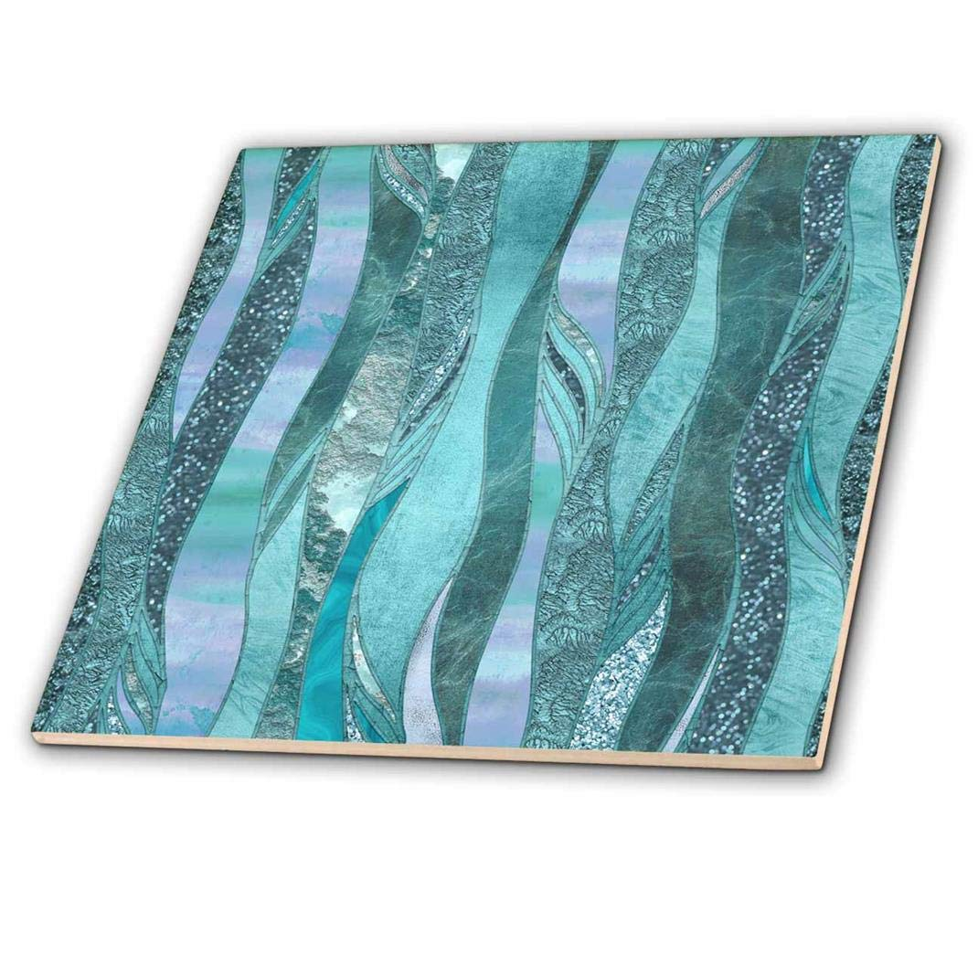 3dRose Blue and Turquoise Abstract Glamorous Stripes Ceramic Tile 12 ct/_274836/_4