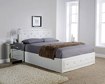 Sensational Hollywood Crystal Gas Lift Storage Bed 5Ft King Size White Bralicious Painted Fabric Chair Ideas Braliciousco