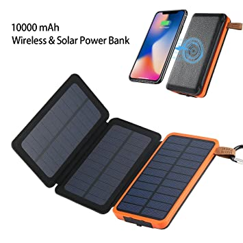 i.VALUX Cargador Solar, 10000mah Inalámbrico & Solar Power ...