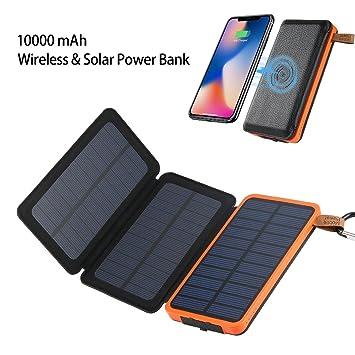 i.VALUX Cargador Solar, 10000mah Inalámbrico & Solar Power ...
