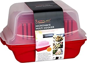 Kitalma Universal Whole Meal Microwave Cooker. All In One BPA Free Microwavable Gadget To Quickly and Fully Cook, Steam, Roast or Poach Rice, Chicken, Steak, Eggs, Bacon, Vegetables, Pasta and More