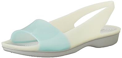 Crocs Women's Colorblock Flat, Sea Foam/Pearl White, ...