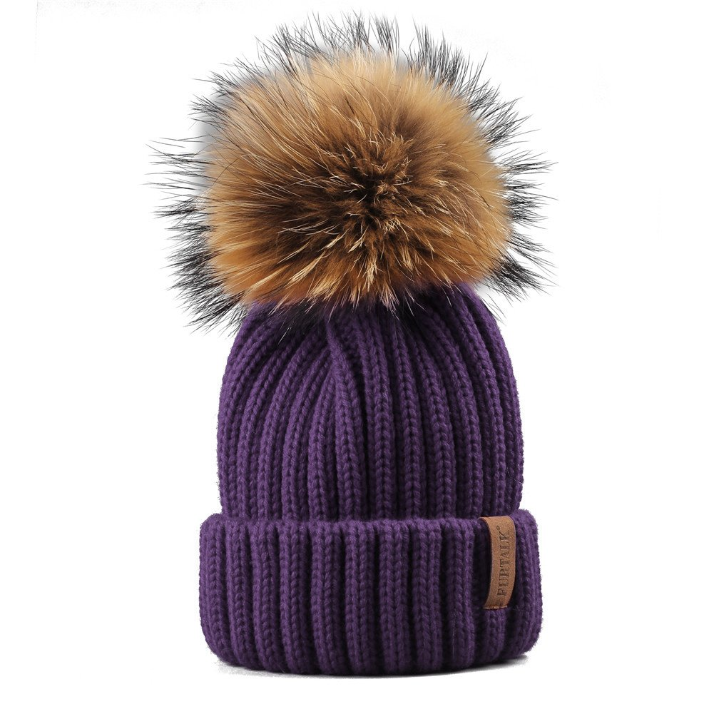 FURTALK Winter Knit Hat Real Raccoon Fur Pom Pom Womens Girls Warm Knit Beanie Hat MH145-Khaki