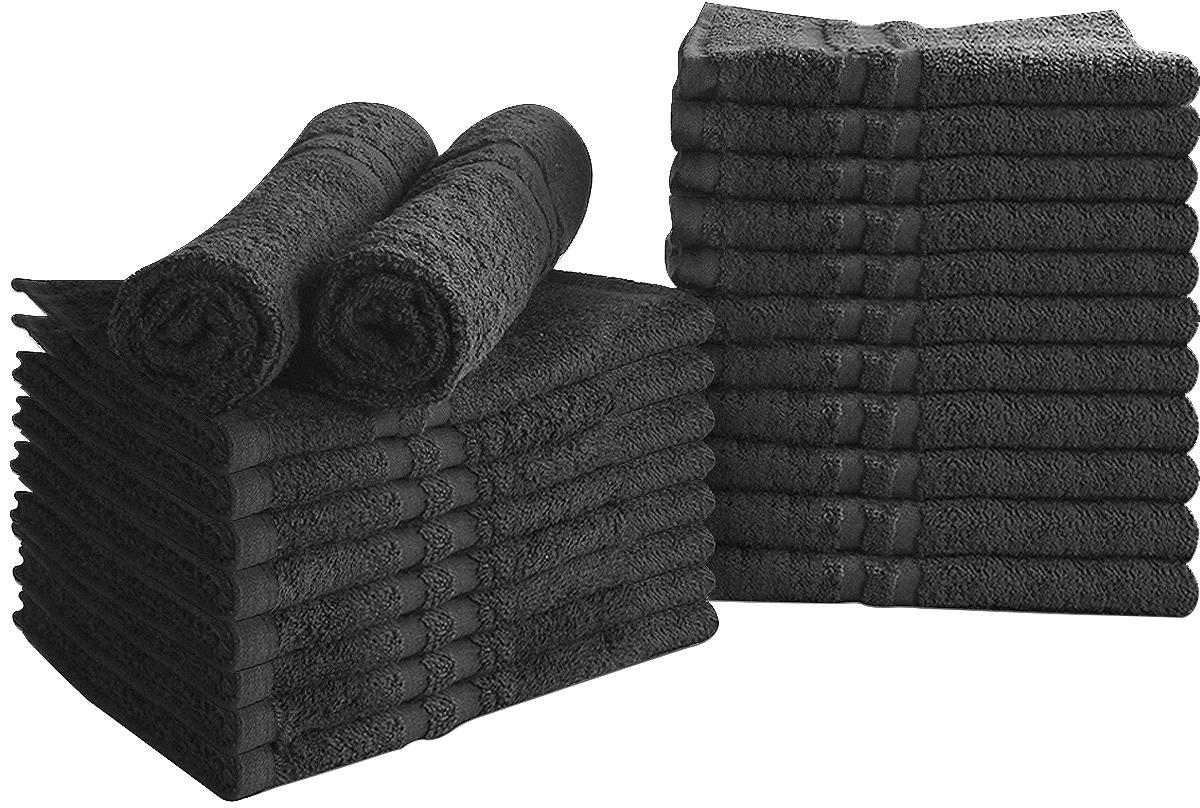 Utopia Towels Cotton Bleach Proof Salon Towels (24-Pack, Black,16x27 inches) - Bleach Safe Gym Hand Towel