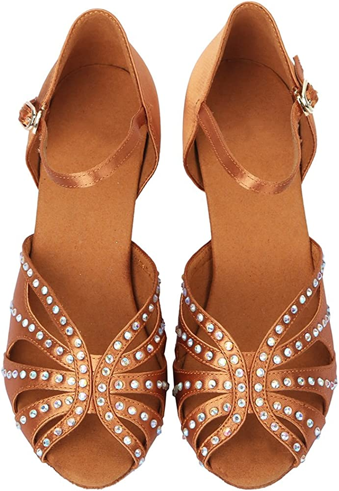 HROYL Chaussures de Danse Latine pour Femmes Satin de Haute qualit/é avec Strass Chaussures de Danse de Salon Mod/èle AF435