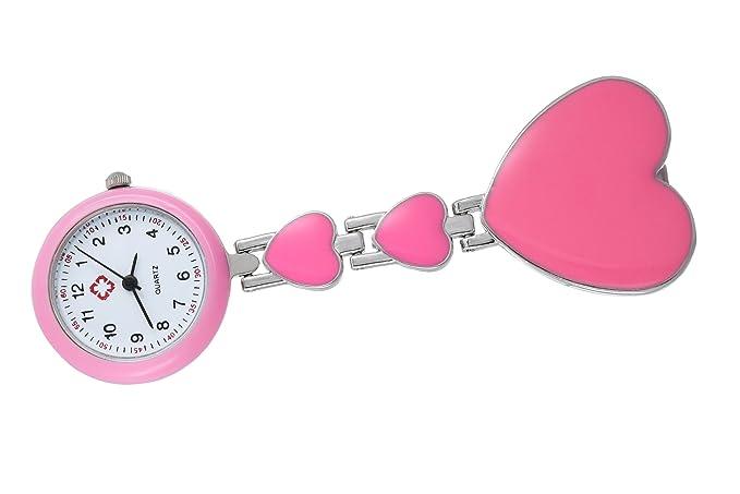reloj encantador enfermera rosa en forma de corazón de las niñas reloj de cuarzo números árabe