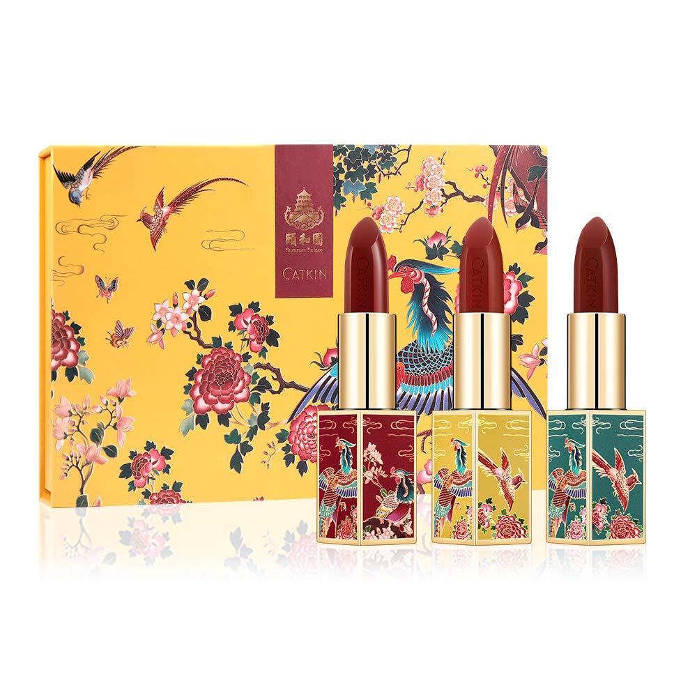 CATKIN X SUMMER PALACE Lipstick Set, Rouge Red Long Lasting Moisturizing Lip Stick Makeup Gift Box