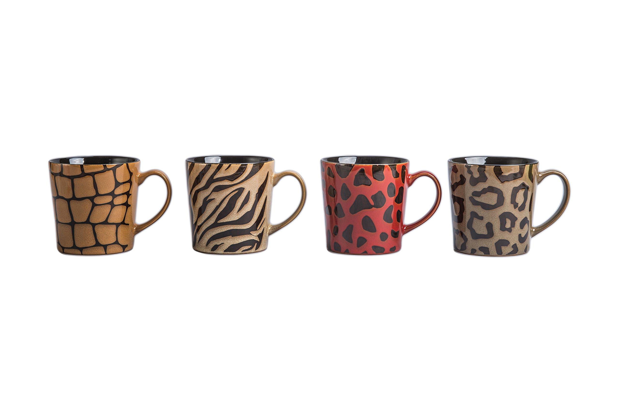 BIA Cordon Bleu 17-Ounce Safari Mug, Set of 4, Assorted Animal Print Designs by BIA Cordon Bleu (Image #1)