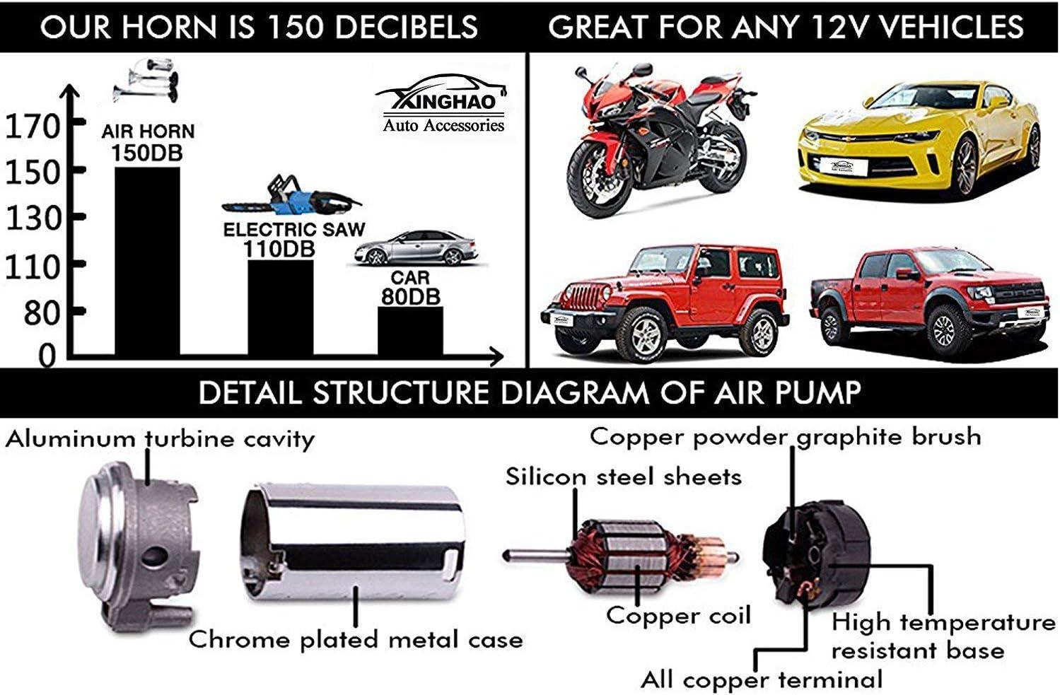 Dhuile Auto Horn 12 V 150db Air Horn Auto Lautsprecher 430 Mm Chrom Zink Trompetenform Truck Elektrische Horn Kompressor Alle 12 V Fahrzeuge Lkws Lkw Züge Boote Cars Auto