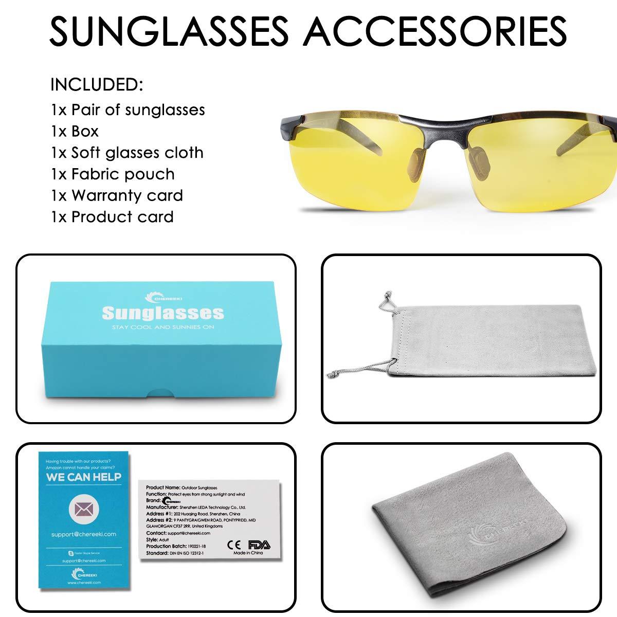 CHEREEKI Occhiali da Sole Occhiali da Sole da Uomo con Lenti Visione Notturna Polarizzati UV400 per Guida Esterno