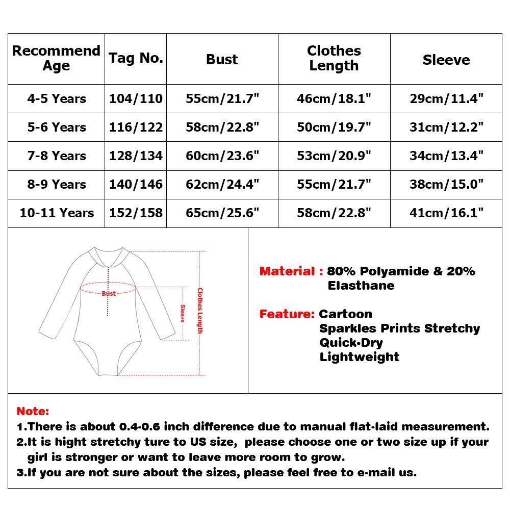XIAOFEIGUO Girls Swimsuit Rash Guard One-Piece Long Sleeve Girls Quick-Dry Beach Wear UPF 50+