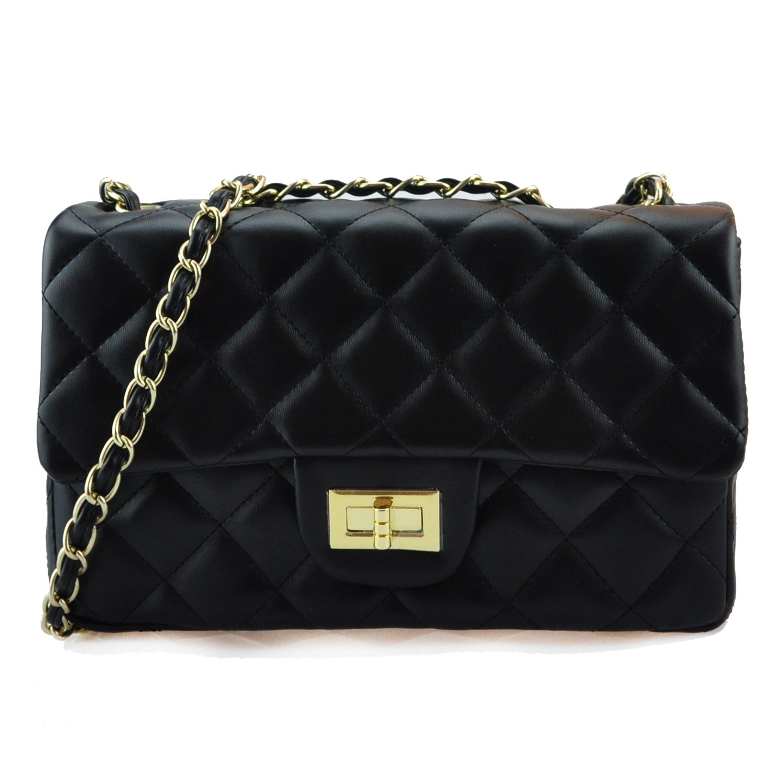 Volcanic Rock Women's Quilted PU Leather Cross-body Bag Girls Purse & Handbags Chain Small Messenger Bag (918 large black)