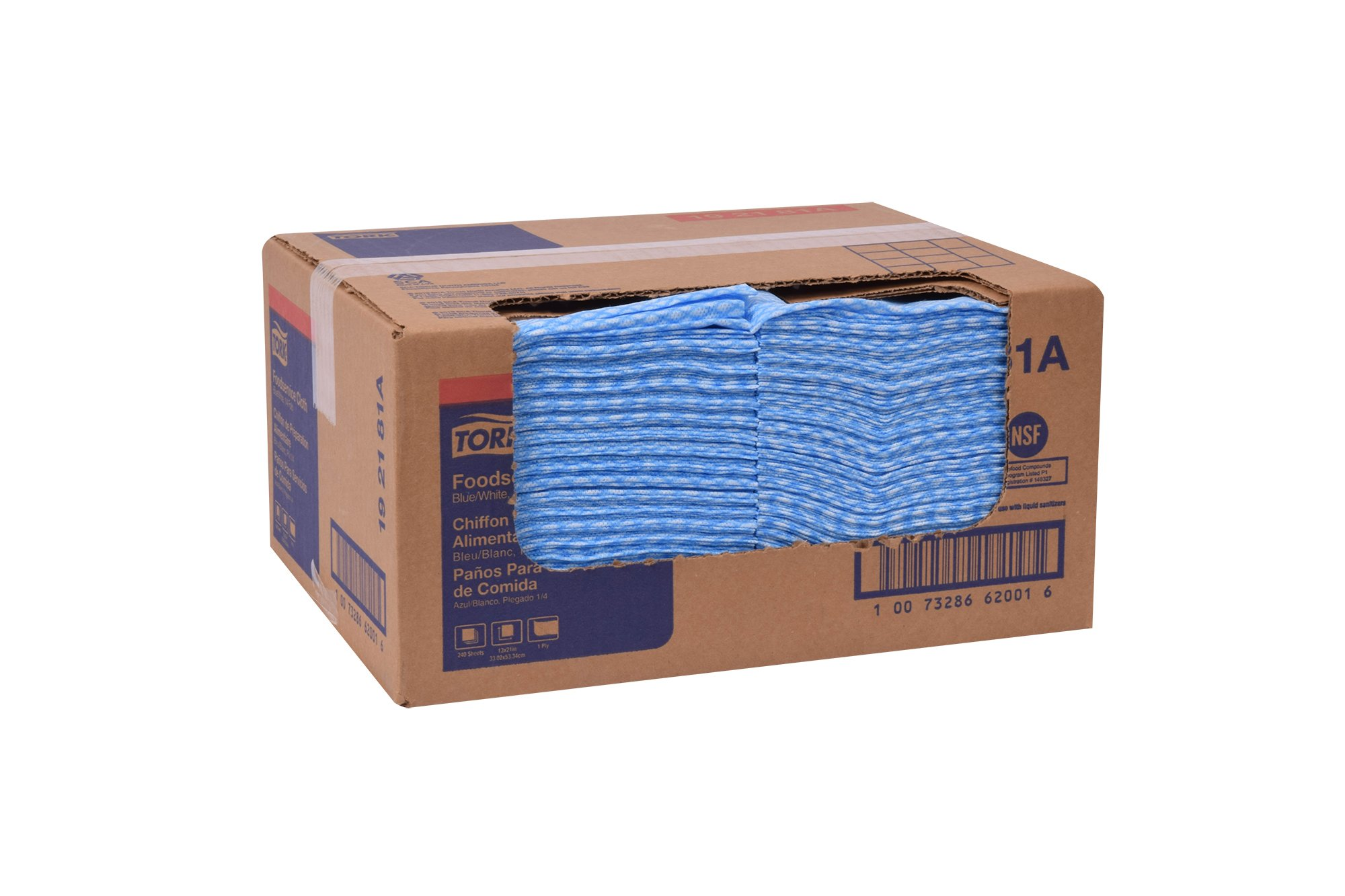 Tork 192181A Foodservice Cloth, 1/4 Fold, 1-Ply, 13'' Width x 21'' Length, Blue/White (Case of 1 Box, 240 Cloths) by Tork (Image #8)