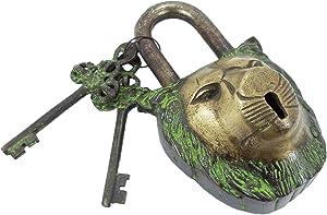PARIJAT HANDICRAFT Functional Brass Beautiful Padlocks with Two Keys Functional Brass Garden Padlock in Lion Head