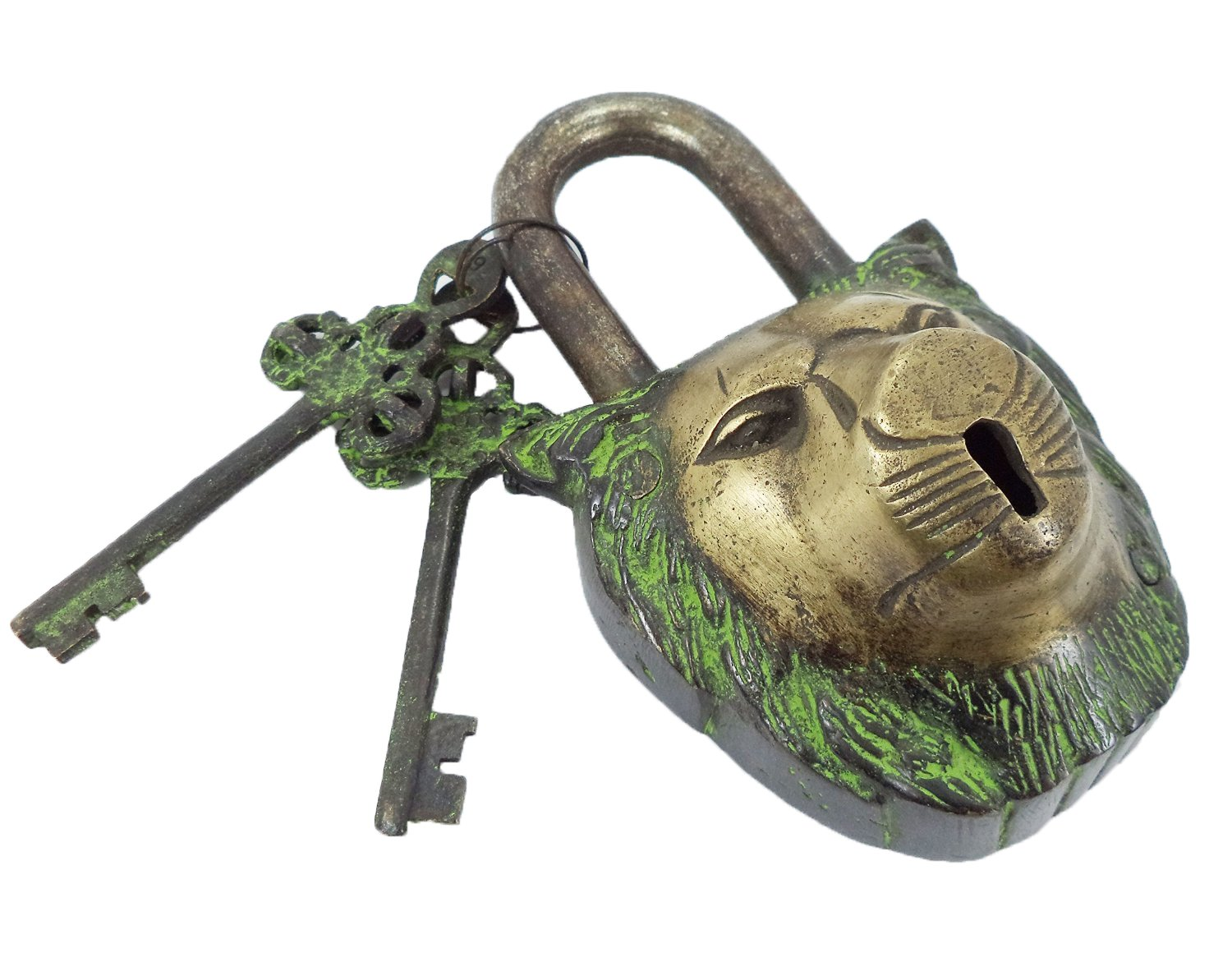 PARIJAT HANDICRAFT Functional Brass Beautiful Padlocks with Two Keys Functional Brass Garden Padlock in Lion Head