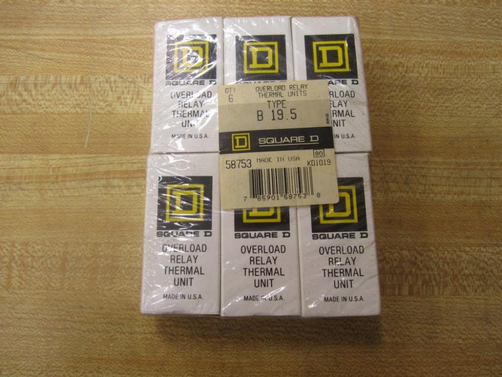 Square D B19.5 Overload Heater Element B195 (Pack of 6)
