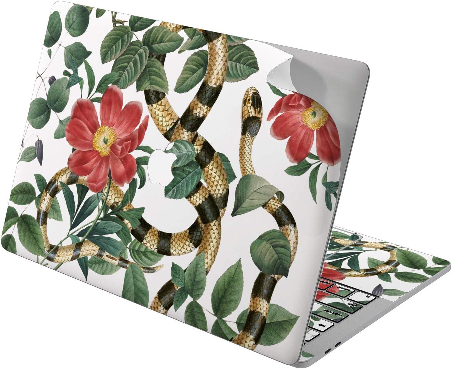 "Cavka Vinyl Decal Skin for Apple MacBook Pro 13"" 2019 15"" 2018 Air 13"" 2020 Retina 2015 Mac 11"" Mac 12"" Cute Serpent Protective Jungle Snake Cover Art Sticker Laptop Green Golden Flowers Print Design"