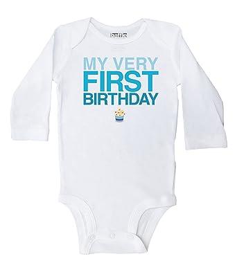 4e9cbd5e8fd7 Baffle / My Very First Birthday Blue Text, White Long Sleeve Onesie - Baby  Boy
