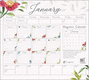 Legacy Publishing Group 2021 Magnetic Calendar Pad, 9.5 x 8.5-Inch, My Garden